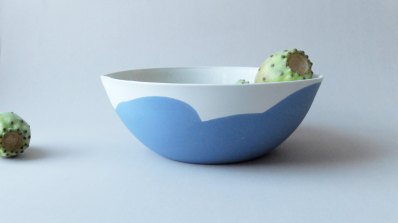 Still life photo of a white and blue bowl with fruit.