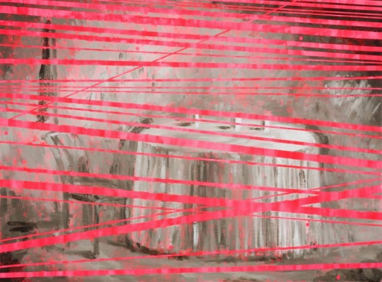 Painting of a white table layered with fluo pink stripes.