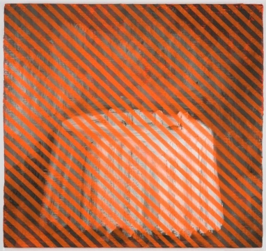 Painting of a white table layered with orange oblique stripes.