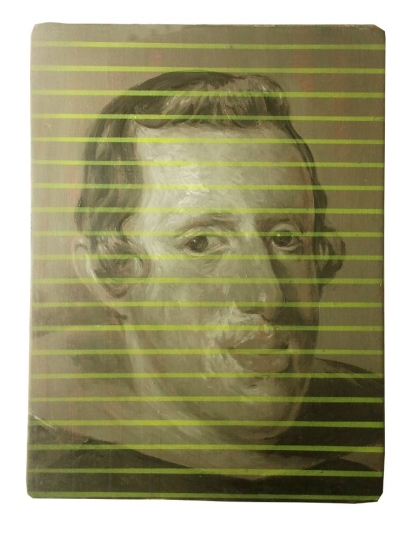 Painting of a an layered with thin horizontal yellow stripes.
