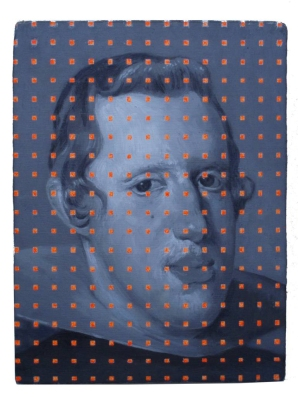 Portrait of a man layered with orange fluorescent dots.