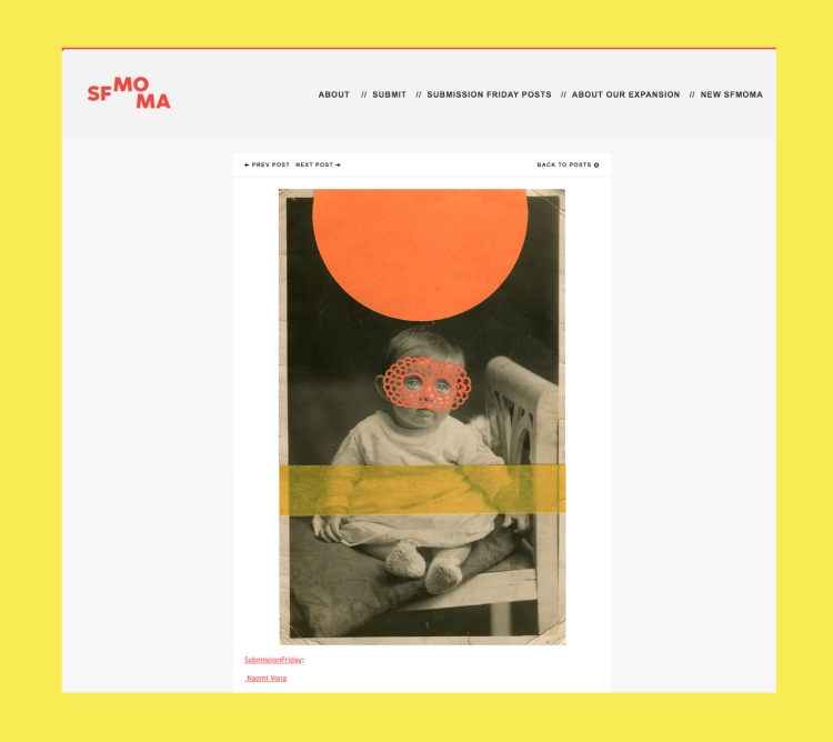 Screenshot of SFMOMA Tumblr offical page about Naomi Vona's collages feature.