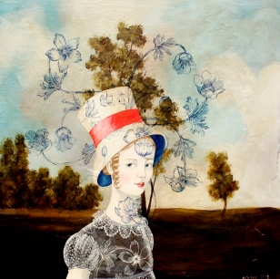 Portrait of a young woman with hat surrounded by a natural landscape.