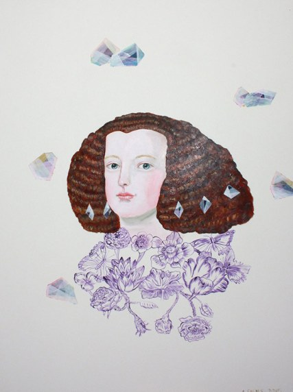 Portrait of a woman with purple flowers.