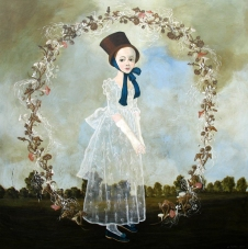 Full body portrait of a girl surrounded by a circle decoration of mushrooms.