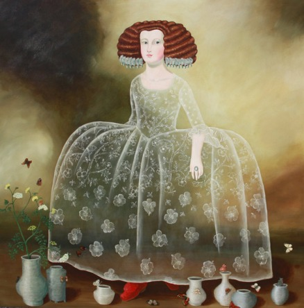 Full body portrait of a woman with pots on her feet.
