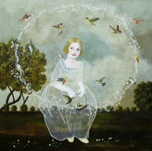Full body portrait of a girl surrounded by birds.