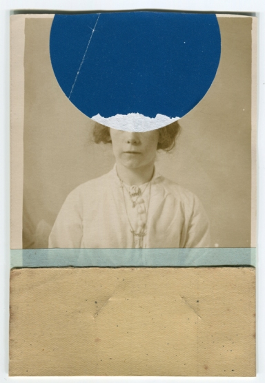 Collage of a vintage photo of a woman portrait decorated with vintage beige paper, light blue washi tape and found blue dotty paper that covers her face.