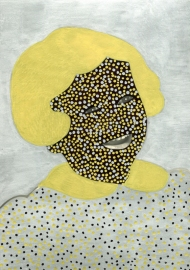Vintage photo collage of a child portrait decorated with silver, gold and black Posca pens.