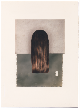Collage of long hair placed on a collaged background.