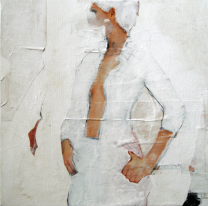Collage of a woman painted with white color.