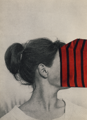 Collage of a defaced woman seen on profile.