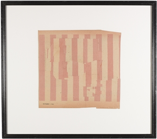Vintage white and pink striped paper composition.