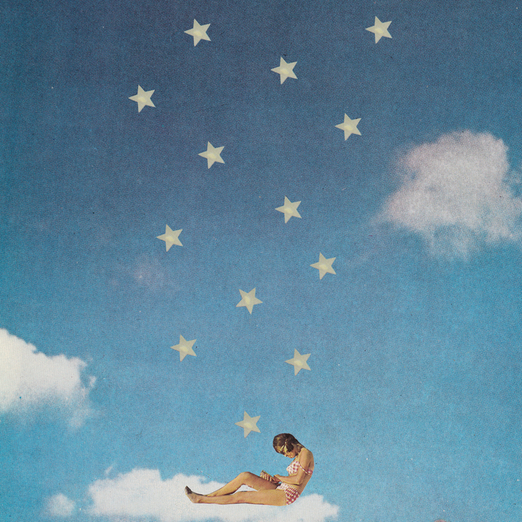 Collage of a woman sat on a cloud with stars over her..