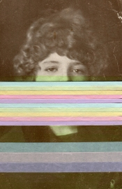 Vintage photo collage of a woman portrait decorated with striped pastel colors paper, green highlighter and pastel striped colors washi tape.