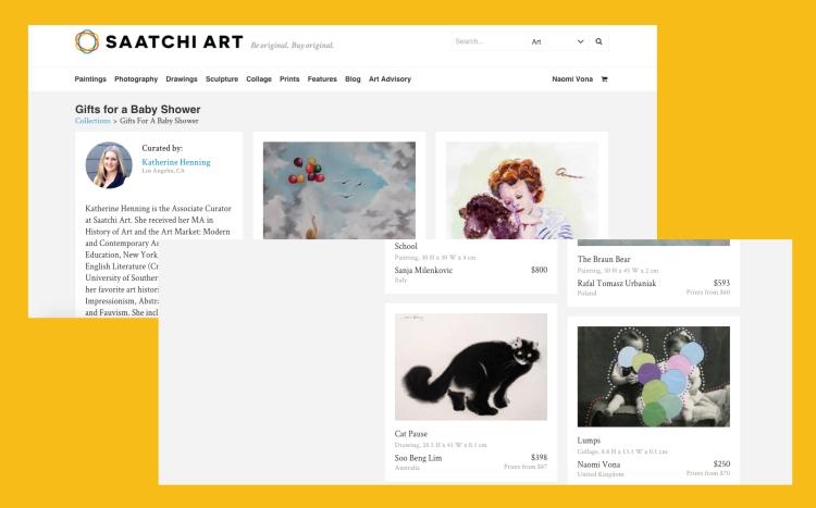 Screenshot of Saatchi Art website about Naomi Vona collages.