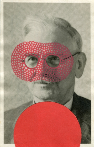 Vintage photo collage of a man portrait decorated with a red found dotty paper and Posca pens.