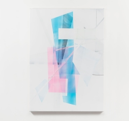 Still life picture of an abstract painting colored with white and pastel pink and light blue colors.