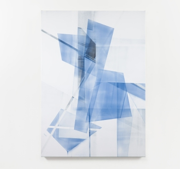 Still life picture of an abstract painting colored with blue, light blue and grey.