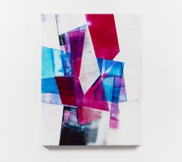 Still life picture of an abstract painting colored with purple, blue, black and white.