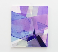 Still life picture of an abstract painting colored with purple, lilac and white.