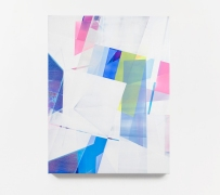 Still life picture of an abstract painting colored with white, blue, light blue and pink.