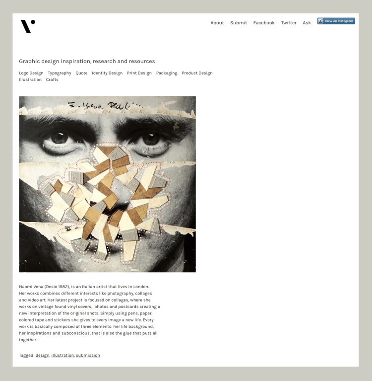Screenshot of Visualgraphc blog about Naomi Vona collages.