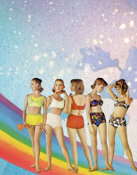 Collage of a group of young women in bikini with a surreal background and a rainbow.