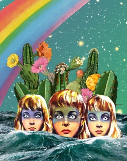 Collage of three women heads staring in front of them. Surreal background made of cactus plants, a rainbow and stars.