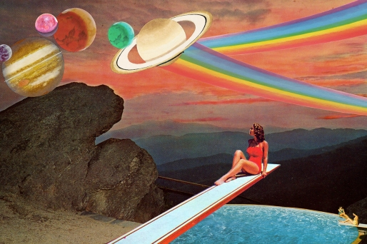 Collage of a woman sat on a pool trampoline observing the landscape. Surreal planets landscape.