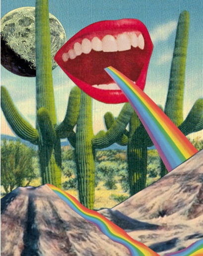 Collage of a woman mouth throwing a rainbow, natural landscape background with cactus plants.