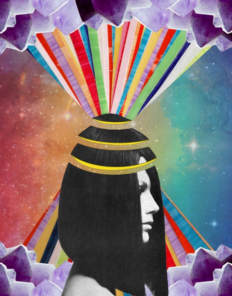 Collage of a woman sectioned head with colorful stripes and a surreal background.