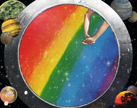 Collage of planets and a rainbow where you can spot two human arms.