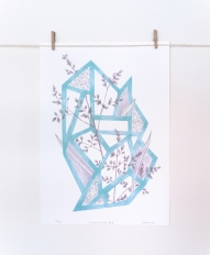 Still life photo of an abstract light blue illustration hang on a wall.