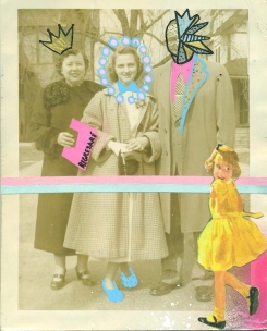 Vintage family photo in outdoors decorated with mixed media materials.