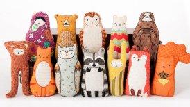 Still life group photo of animal soft toys.