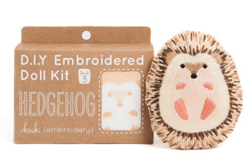 Still like photo of an embroidery kit to create an hedgehog.