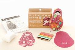 Still like photo of an embroidery kit to create a matryoschka.
