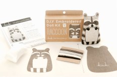 Still like photo of an embroidery kit to create a racoon.