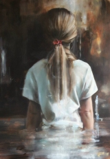 Painting of a little girl seen from her back.