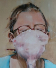 Painting of a girl with half face covered with pink color.