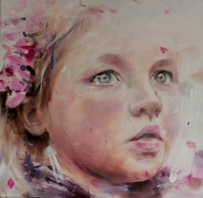 Close up painting of a baby girl with pink colors.
