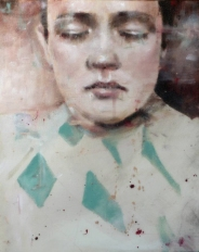 Close up woman portrait painting with her eyes closed.