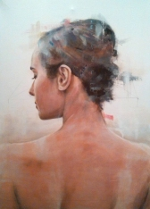 Painting of a woman portrait seen from her back.