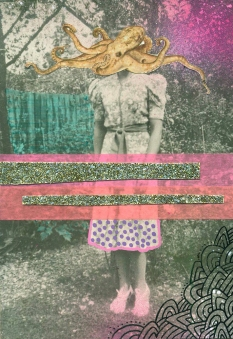 Vintage woman portrait collage decorated with mixed media materials.