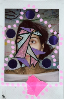 Collage on polaroid of a woman portrait, decorated with pens, washi tape and stickers.