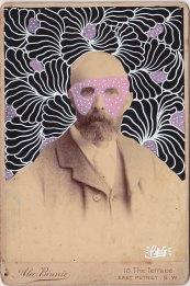 Vintage man portrait photo decorated with pens.