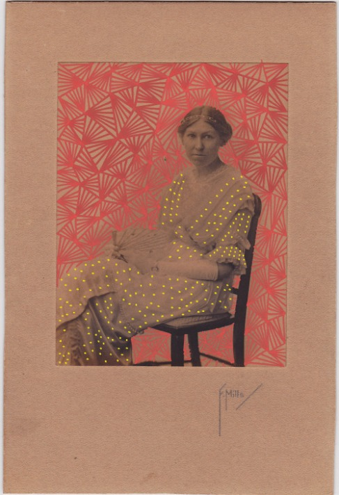 Vintage woman portrait photo decorated with pens.