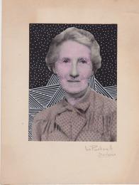 Vintage woman portrait photo decorated with pens.