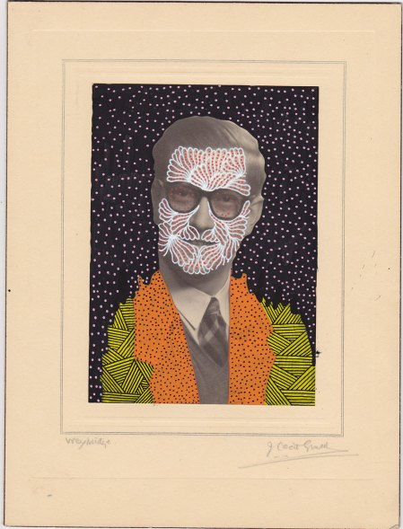 Vintage man portrait photo decorated with pens.